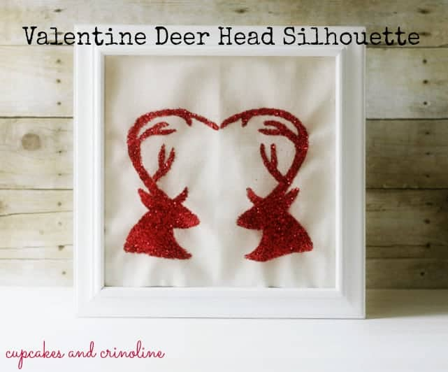 Deer Head Silhouette in White Frame from Cupcakes and Crinoline