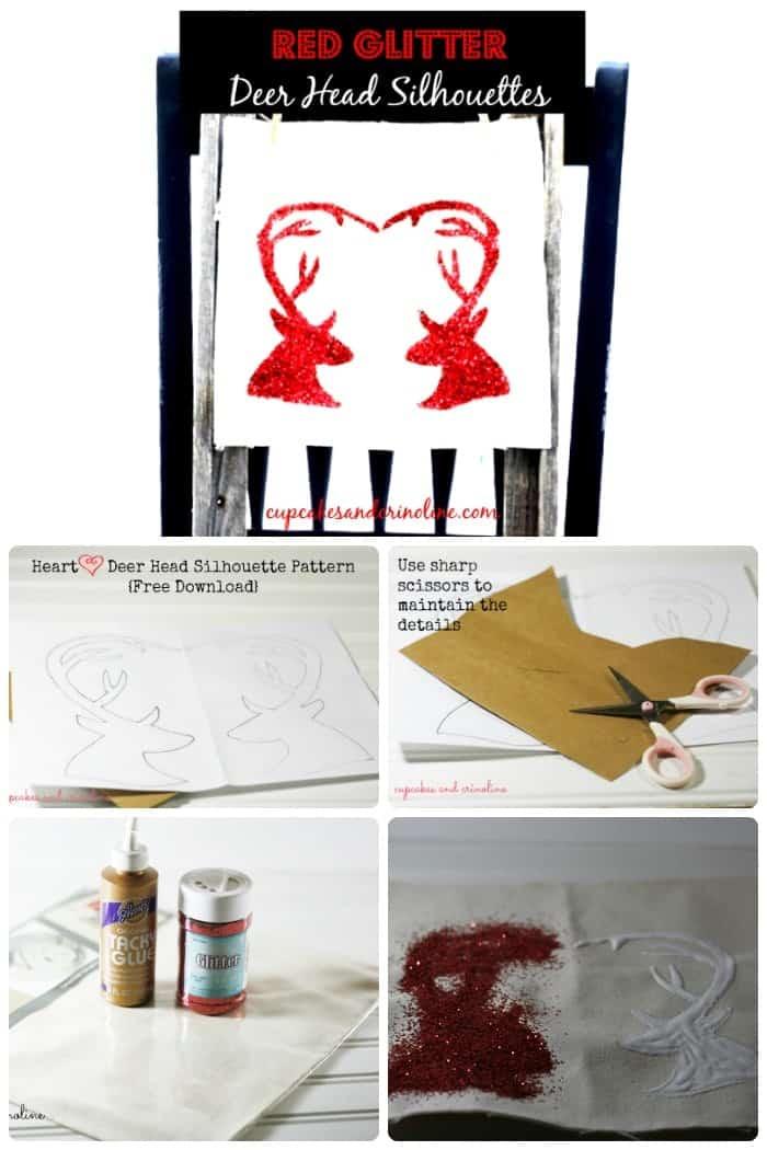 Red Glitter Heart Shaped Antlers - Deer Head Silhouette