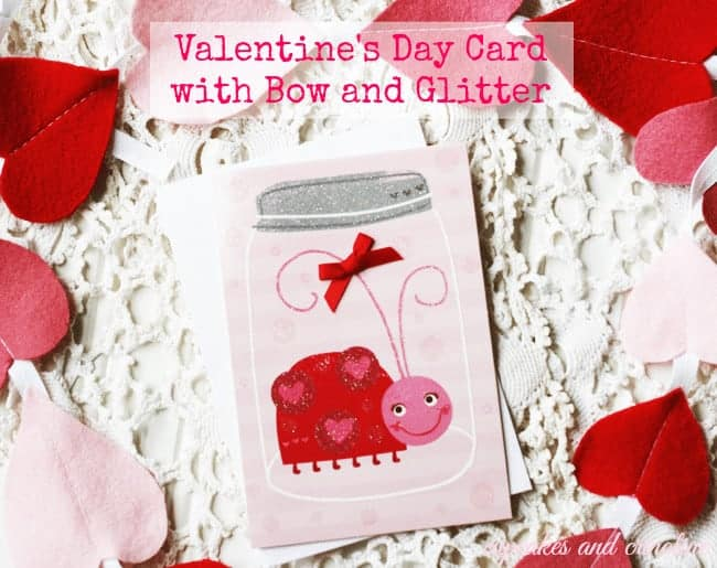 Bow and Glitter Valdntine's Day Card #ValentineCards #shop4