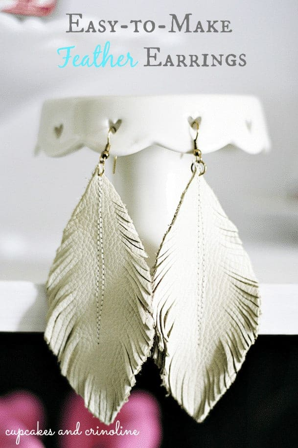Feather Leather Earrings from Cupcakes and Crinoline