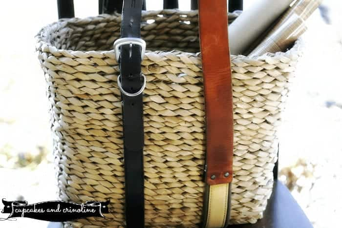 How to Add Leather Handles to a Basket at Cupcakes and Crinoline