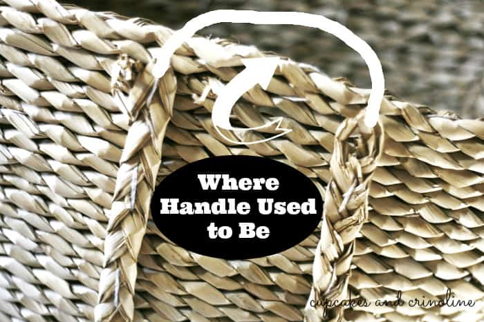 How to Add Leather Handles to a Basket from Cupcakes and Crinoline