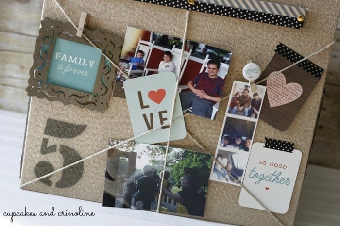 Burlap Twine and Chalkboard Banner Memory Board #MPinterestParty