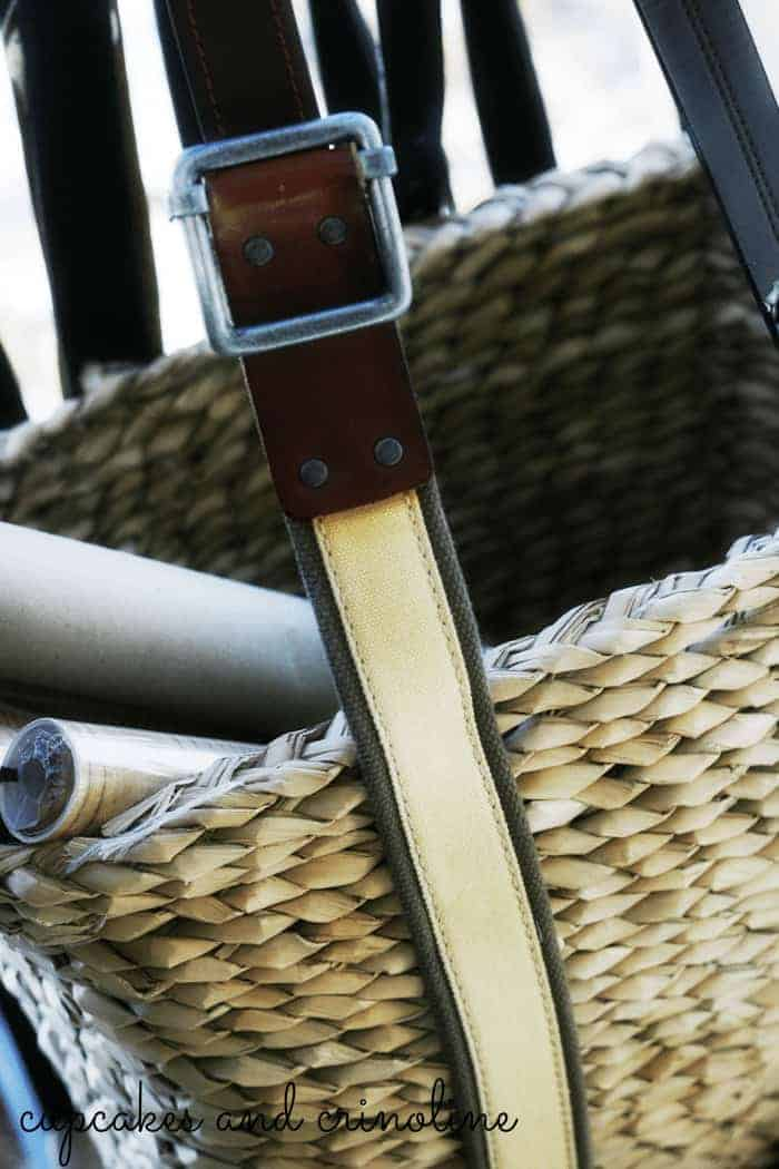 Upcycle a Basket with Old Leather Belts from Cupcakes and Crinoline