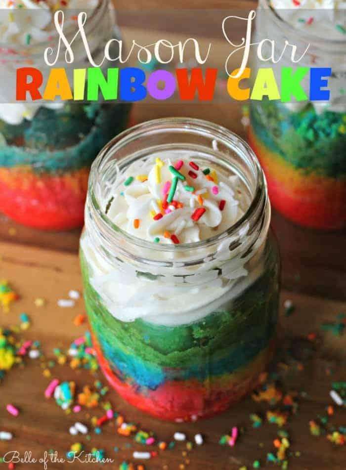 Mason Jar Rainbow Cake from Belle of the Kitchen