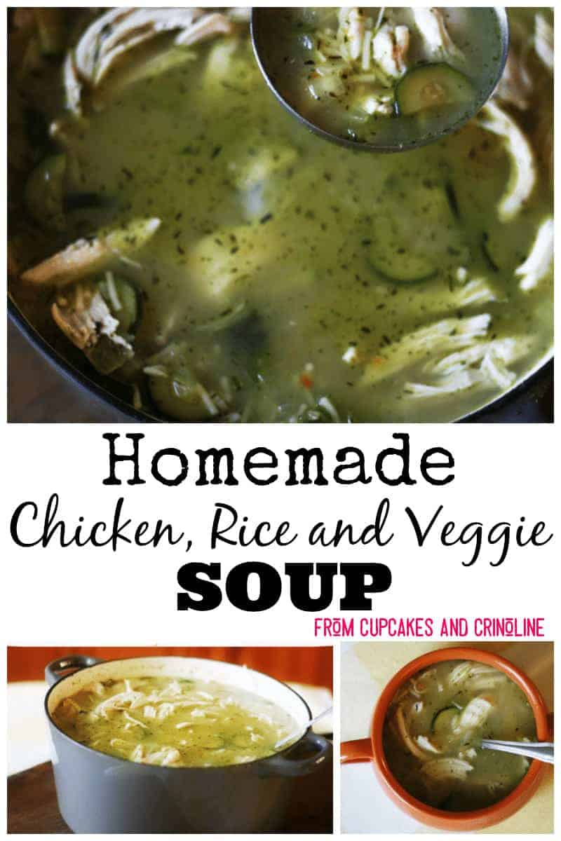 So Easy to Make! Homemade chicken, rice and veggie soup from cupcakesandcrinoline.com Popular Pin
