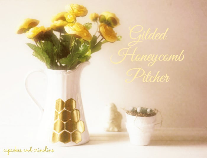Gilded Honeycomb Pitcher with vintage bird
