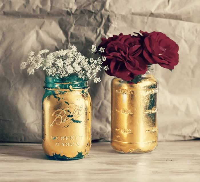 Gilded Mason Jar Gilded-Mason-Jar #MasonJar #gilded cupcakesandcrinoline