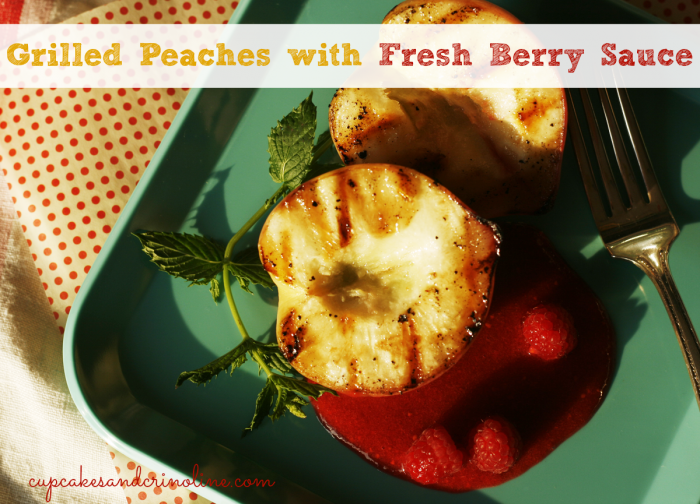 Grilled-peaches-with-fresh-berry-sauce from cupcakesandcrinoline.com