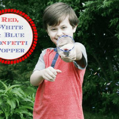 Red, White and Blue Confetti Popper