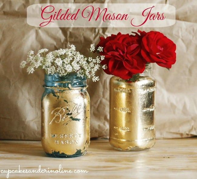 Summer Blog Hop 2014 Gilded-Mason-Jar #MasonJar #gilded cupcakesandcrinoline