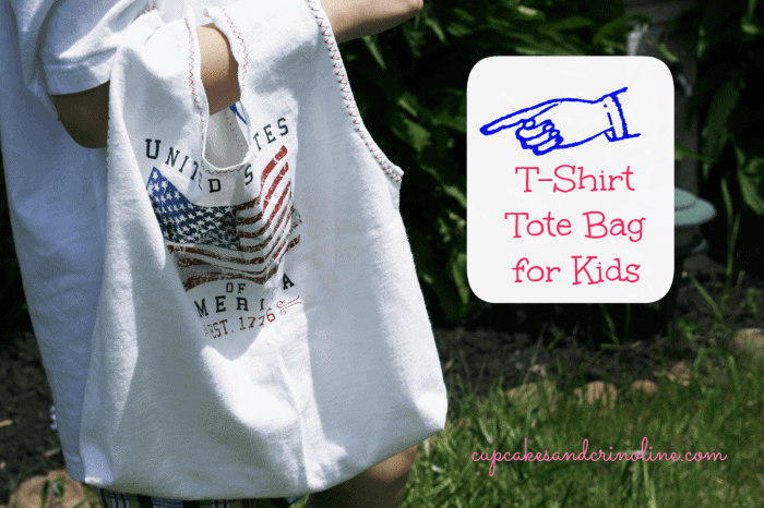 T-shirt-tote-bag-for-kids at cupcakesandcrinoline.com being-modeled