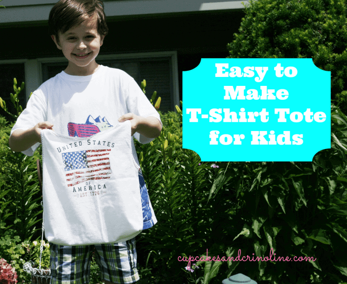 T-shirt-tote-bag-for-kids at cupcakesandcrinoline.com #tshirt #totebag #recycle #repurpose