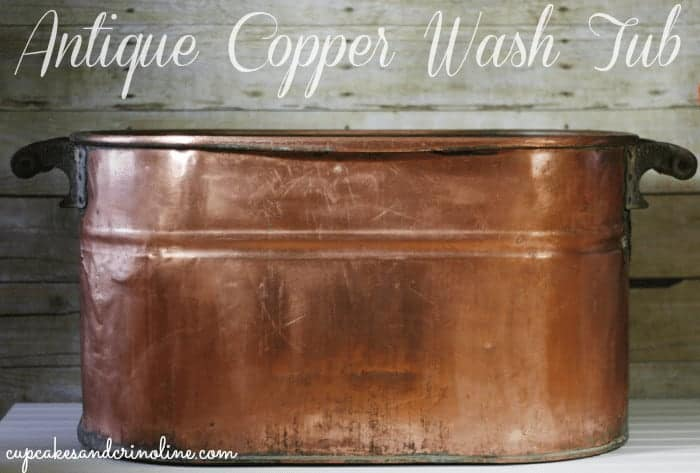 Antique copper boiler wash tub after being cleaned and polished with ketchup