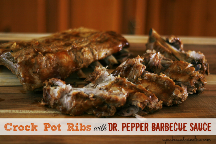 Crock pot ribs with Dr. Pepper Barbecue Sauce from cupcakesandcrinoline.com