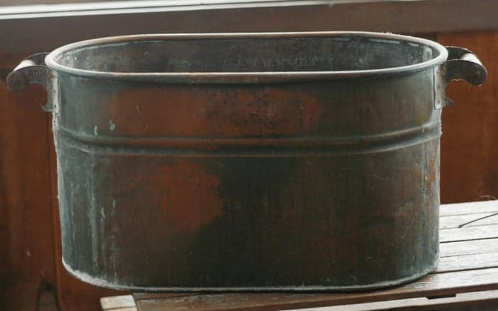 How to clean copper - antique copper boiler wash tub before cleaning with ketchup
