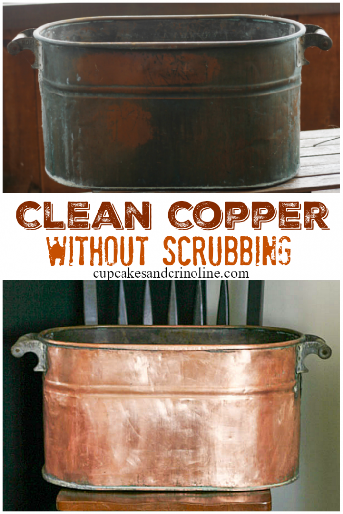 How-to clean copper without scrubbing. Get the details at www.cupcakesandcrinoline.com