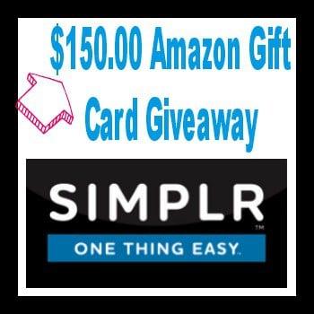 $150.00 Amazon Gift Card Giveaway #SIMPLRplan AD