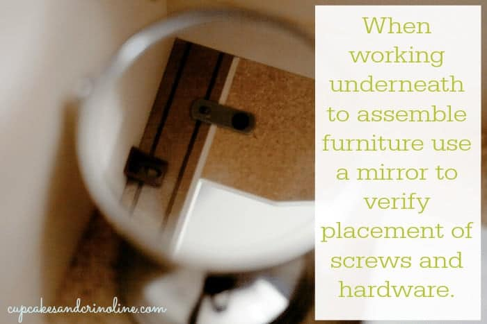 Easy tip for assembling furniture when you can't see what you're doing. #furniture #assembly #homemakingtips