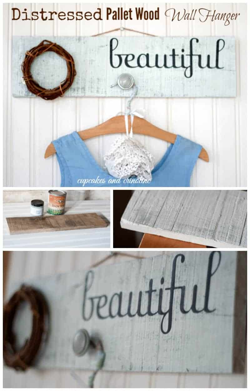Easy to make Distressed pallet wood wall hanger from cupcakesandcrinoline.com