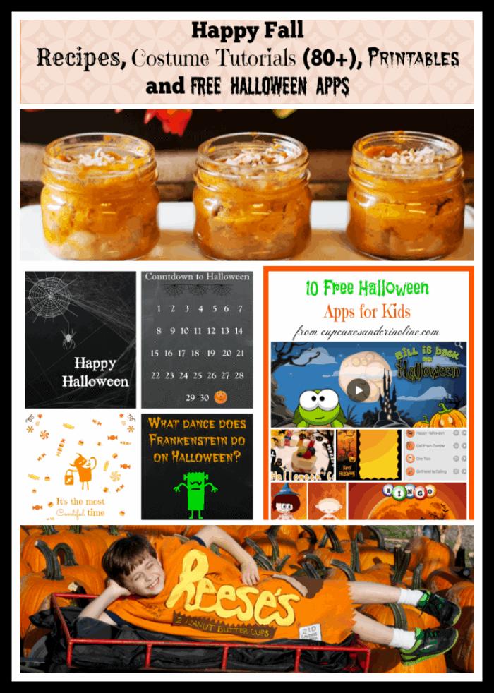 Recipes, Costume Tutorials {80+}, Printables and Free Halloween Apps from cupcakesandcrinoline.com
