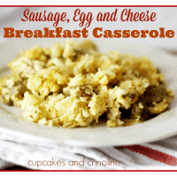 Sausage, Egg and Cheese Breakfast Casserole. Perfect for Sunday Breakfast or dinner any night of the week. Hearty, quick, delicious and gluten free