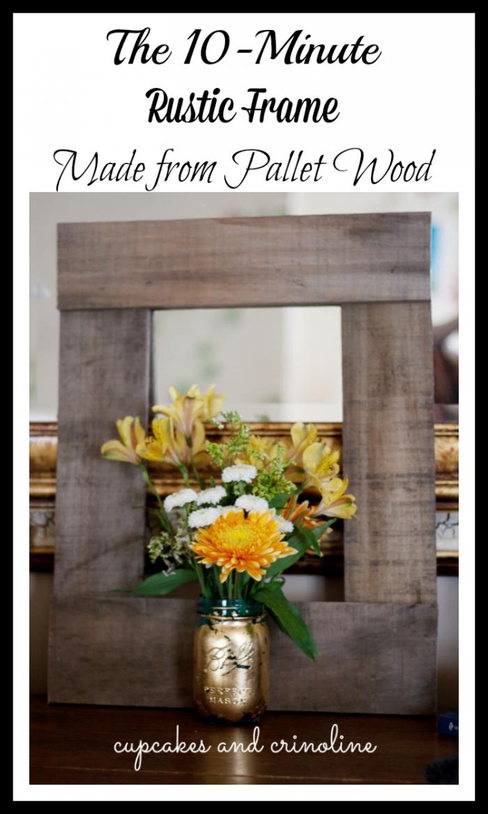 DIY Pallet Frame made from salvaged pallet wood at cupcakesandcrinoline.com #pallet #frame #diy #rustic