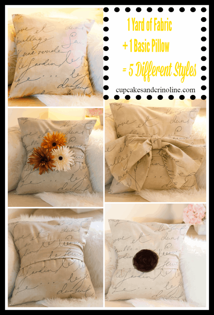 DIY pillows sewn with one yard of fabric. One pillow, 5 different styles.