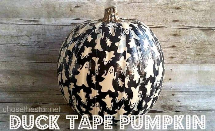 Ghost-Duck-Tape-on-a-faux-pumpkin-trickyourpumpkin-@Michaels-ducktape-@TheDuckBrand-