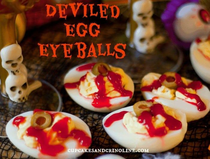 Halloween Party ~ Dracula Juice and Deviled Egg Eyeballs from cupcakesandcrinoline.com
