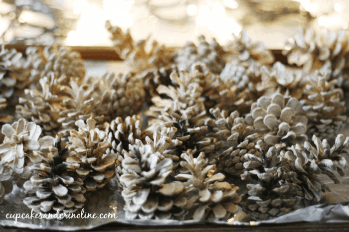 Bleached Pine Cones fresh from the oven from cupcakesandcrinoline.com