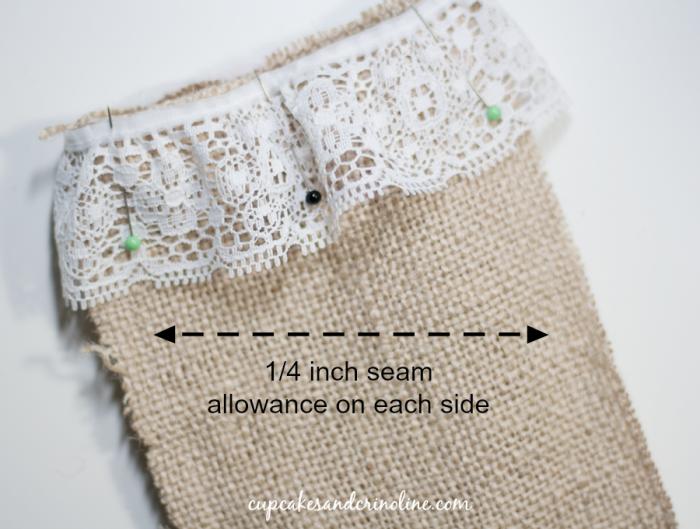 Burlap Berry Sack stitched