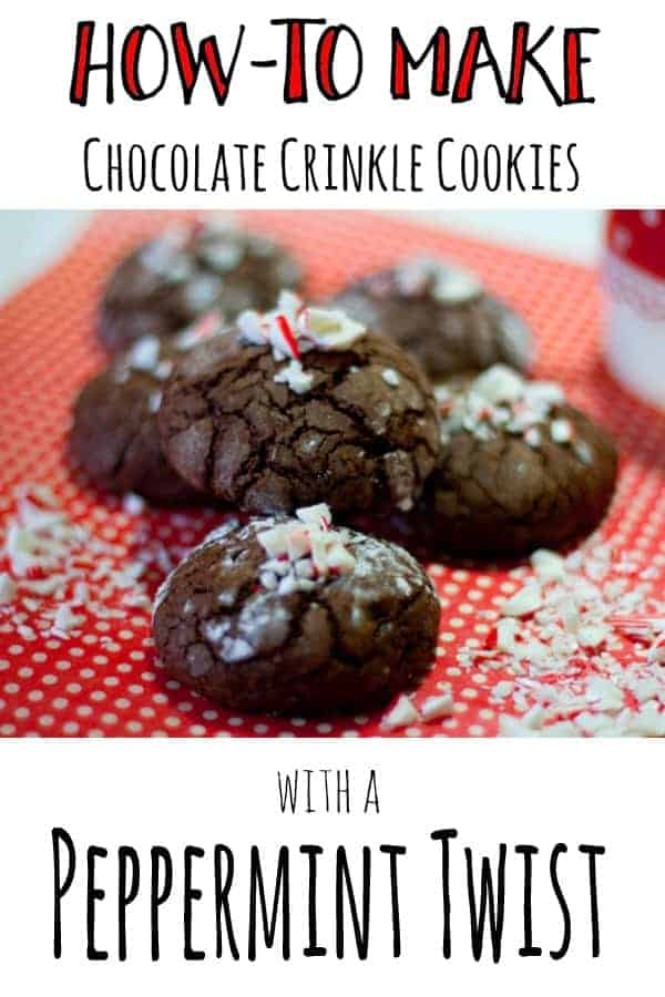 Pinterest image of Chocolate Crinkle Cookies with a Peppermint Twist with overlay