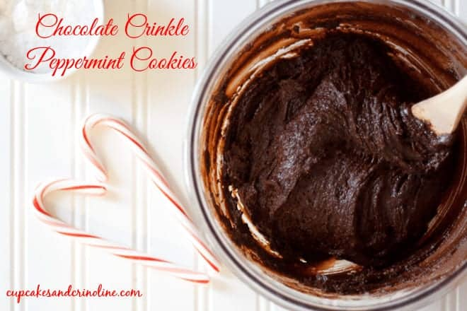 overhead view of chocolate crinkle cookies with a peppermint twist batter