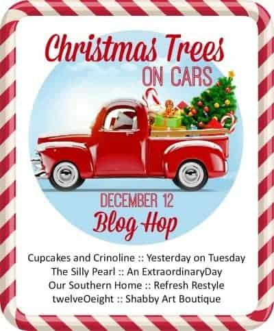Christmas Trees on Cars, bottle brush tree decor, Christmas Centerpiece