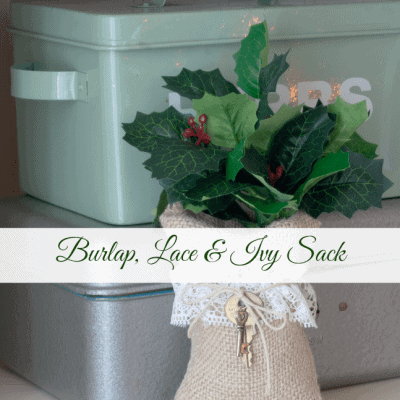 Burlap, Lace and Ivy Sack with Vintage Key