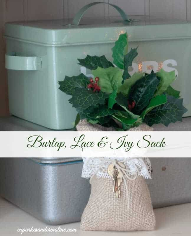Burlap, Ivy and Lace Sack with Twine and Vintage Key