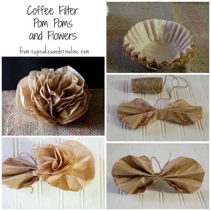 Coffee filter pom pom and flowers from cupcakesandcrinoline.com