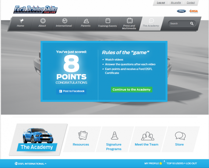 Ford Driving Skills for Life Academy