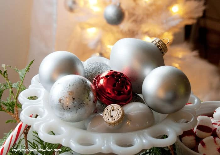 Milk Glass Bowl with Silver and White Ornaments from cupcakesandcrinoline.com