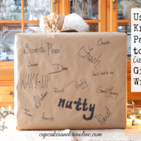 Personalized Gift Wrap using Kraft Paper and colored markers from cupcakesandcrinoline.com
