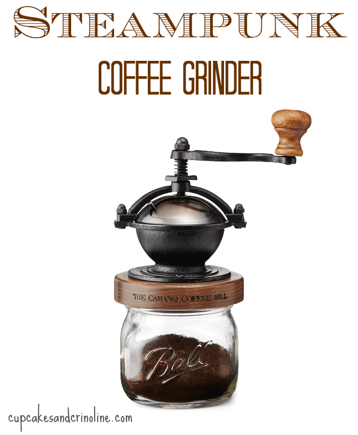 Steampunk Coffee Grinder from Uncommon Goods ~ Gift Ideas for Coffee Lovers at cupcakesandcrinoline.com