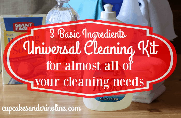 You only need 3 basic ingredients to create the Ultimate Cleaning Kit for almost all of your cleaning needs from cupcakesandcrinoline.com