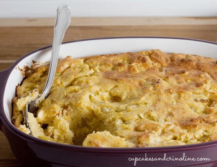Bacon Zucchini Spoon Bread fresh from the oven ~ serve warm cupcakesandcrinoline.com
