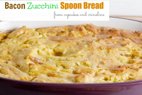 Bacon Zucchini Spoon Bread from cupcakesandcrinoline.com