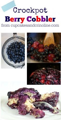 Crockpot Berry Cobbler from cupcakesandcrinoline.com