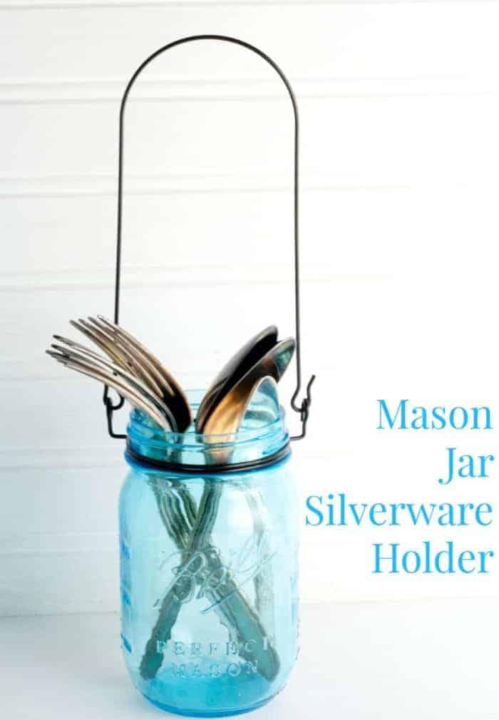 Mason Jar Silverware Holder from cupcakesandcrinoline.com