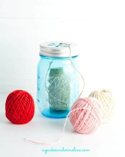 Mason Jar Twine Holder from cupcakesandcrinoline.com