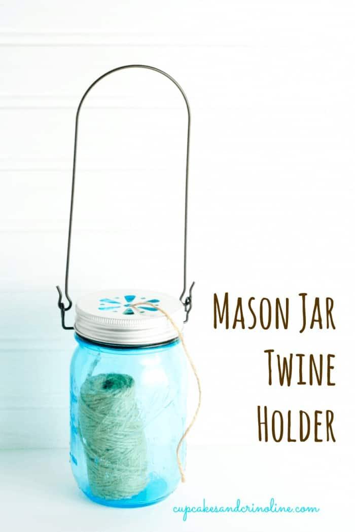 Mason Jar Twine Holder with handle from cupcakesandcrinoline.com