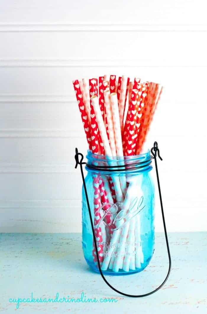Mason Jar with paper straws cupcakesandcrinoline.com